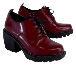 Opening Ceremony Red Leather Lace Up Boots