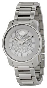Movado Crystal Pave Dial Slver Stainless Steel Designer Ladies Casual Watch