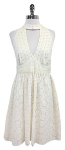 Anna Sui short dress Cream White Floral Eyelet Cutout on Tradesy
