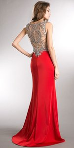 Red Bejeweled Bust & Back Floor Length Dress