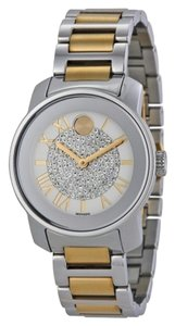 Movado Crsytal Pave Dial Silver Gold Stainless Steel Designer Ladies Watch