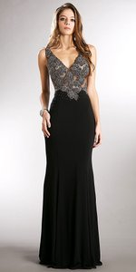 Black, Red Sheer Mesh Back V-neck Beaded Bodice Fitted Long Dress