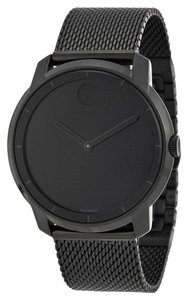 Movado Black Ion Plated Mesh Bracelet Designer MENS Casual Watch