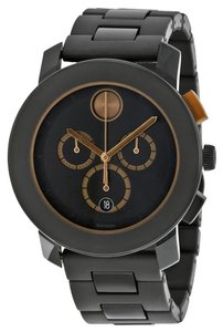 Movado Black Dial Bronze Accents Stainless Steel Designer MENS Watch