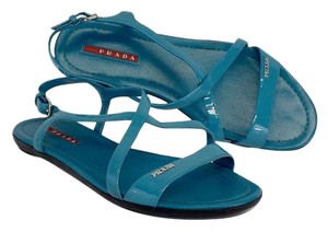 Prada Teal Patent Leather Sandals