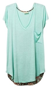 Anthropologie Anthro Tee Silk Cotton Pattern Top Aqua