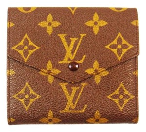 Louis Vuitton Vintage Monogram Canvas Leather Trifold Wallet France w/ Box