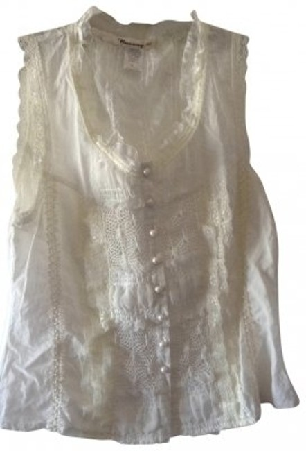Other See Thru Lack Back Button Down Shirt white
