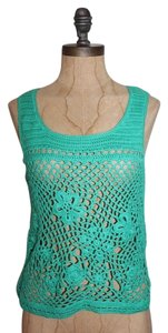 Anthropologie Crochet Open Knit Top GREEN