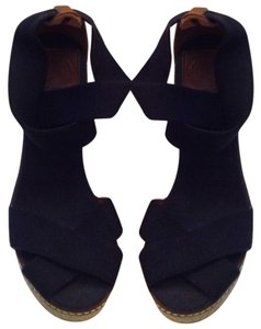 Tory Burch Made In Spain Leather Trim Navy Wedges
