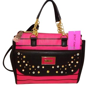 Betsey Johnson Cross Body Striped Satchel in fuchsia/black