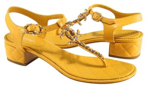 Chanel Logo Tstrap Quilted yellow Sandals