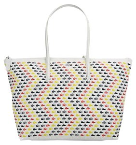 Lacoste New W/tags Brand New Tote in white w/multicoloured logo motifs