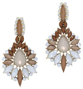 Flower Spike Shourouk Resin Enamel Neutral Gold Drop Chandelier Earring