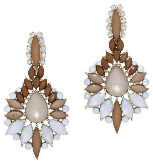 Other Flower Spike Shourouk Resin Enamel Neutral Gold Drop Chandelier Earring Image 0