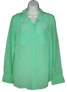 J.Crew Silk Pockets Mint Top