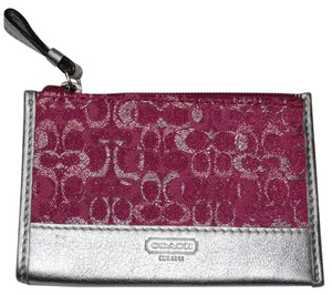 Coach Metalic Pink Shimmer Coin Purse ID Holder Card Holder Signature Fabric