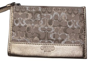 Coach Metalic Gold Shimmer Coin Purse ID Holder Card Holder Signature Fabric