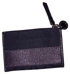 Coach Black Coin Purse ID Holder Card Holder Signature Fabric