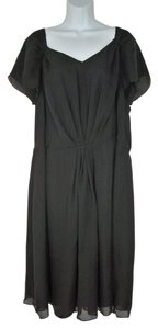 Talbots Silk Flutter Lined Black Dress