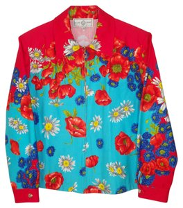 St. John Floral Cotton Multi Bright Boxy Jacket