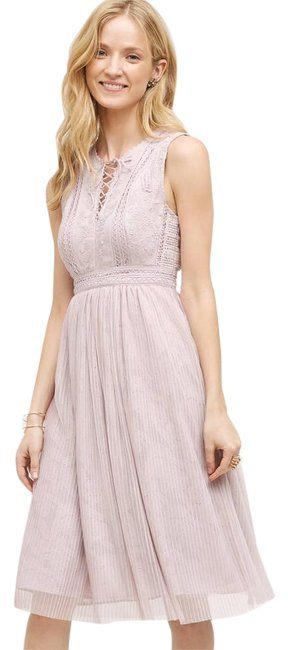 Item - Lilac Embroidered Lace Up Mid-length Formal Dress Size 6 (S)
