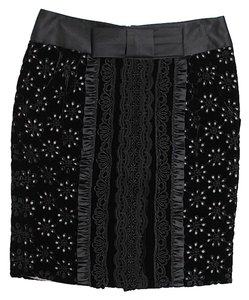 Nanette Lepore Lace Trim Skirt Black