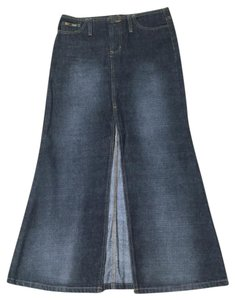 L.E.I. Denim Slit Faded Skirt Black