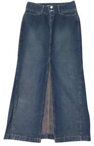 Paris Blues Slit Long Faded Skirt Denim