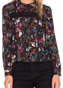 Alice + Olivia Top Floral stretch silk
