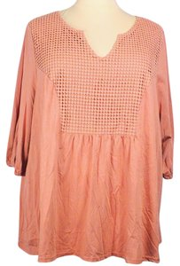 Roaman's Plus Size Fashions Eyelet Panel 3/4 Sleeves Top