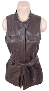 Theory Leather Belted Wool Vest