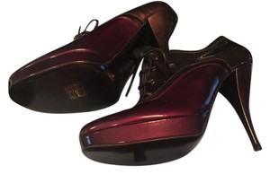 Lanvin Patent Leather Lace Up burgundy/bronze Boots