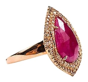 18k Rose Gold Pear Ruby Diamond Tear Drop Cocktail Ring