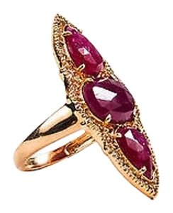 Other 18k Rose Gold Ruby Diamond Pear Oval Pave Cocktail Ring