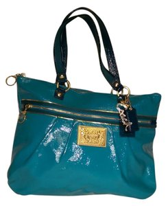 Coach Poppy Glam Patent Leather Tote in Teal