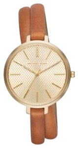 MICHAEL Michael Kors Jaryn Gold Tone And Leather Wrap Watch