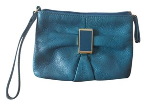 Audrey Brooke Clutch Gold Wristlet in Teal