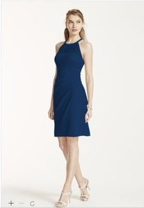 David's Bridal Marine Sleeveless Short Mesh Dress With Side Cascade Dress