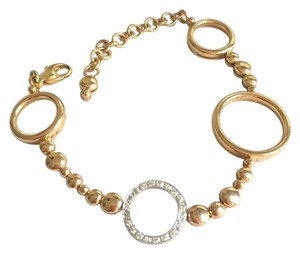 Other SOLID 18K ROSE GOLD - DIAMOND CIRCLE LINK BRACELET - 22 GRAMS - 7