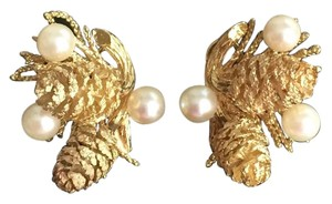 Other Solid 14k Yellow Gold - Pearl Pine Cone Clip On Earrings - 17.9 grams