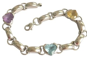 SOLID 14K WHITE GOLD - HEART CHARM BRACELET - 7