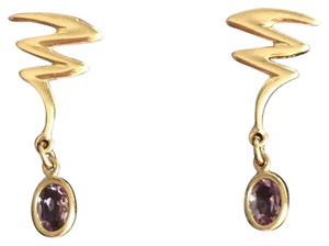 Other Solid 14k Yellow Gold - Dangle Drop Earrings with Amethyst Accent