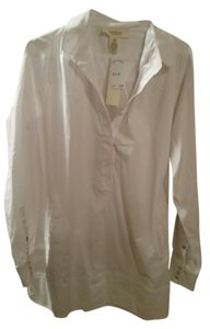 Andrea Jovine Shirt Dress Collared Shirt Button Down Cotton Shirt Dress Top white