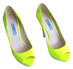 Prada Neon green Platforms