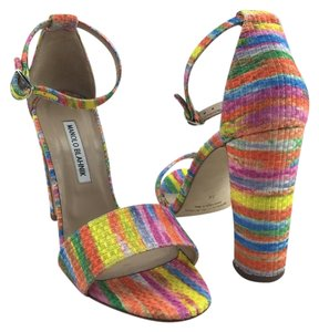 Manolo Blahnik Lauratopri Chunky Ankle Strap Rainbow Sandals