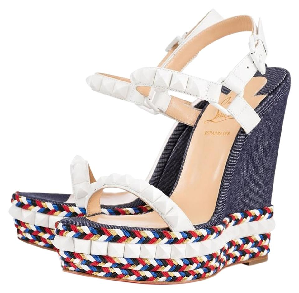 Christian Louboutin Denim Jean Wedges Blue Cataclou 140 White Wedges Jean Sandals Platforms 2392cb