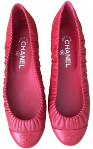 Chanel Cc Red Flats