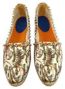 Christian Louboutin Ares Spike Jungle Monkey Espadrille white Flats