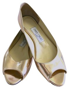 Jimmy Choo Peep Toe Rose Gold Metallic Flats